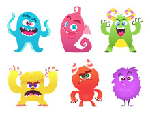 Cartoon Monsters. Goblin Gremlin Troll Scary Cute Faces Of Colored Monsters Vector Funny Characters. Funny Face Alien, Halloween Scary Gremlin Illustration