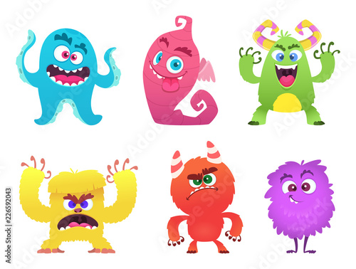 Foto op Canvas Schepselen Cartoon monsters. Goblin gremlin troll scary cute faces of colored monsters vector funny characters. Funny face alien, halloween scary gremlin illustration