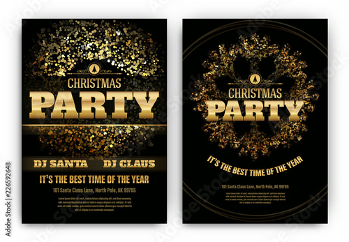 Obraz Christmas Party Poster Template with Shining Lights - Black and Gold - fototapety do salonu