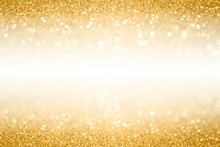 Gold Glitter Border Background For Anniversary, Birthday Or Christmas Invite With White Space