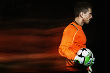 Long Exposure Of Goalie Holdin...