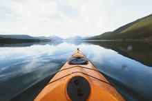 Kayak Sailing On Lake Against ...