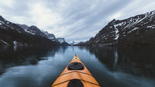 Kayak At Lake, Glacier National Park, Montana, USA