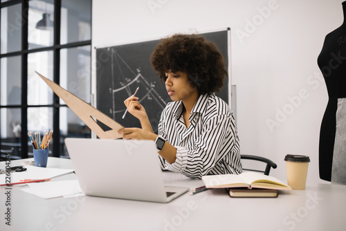 African American Fashion Designer Planning Working Process Researching Information Online Working Project Successful Business Young Hipster Student Learning Fashion Illustration In Atelier Buy This Stock Photo And Explore Similar Images At