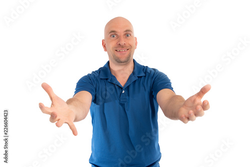 Photographie  Mann mt Glatze glücklich und lacht