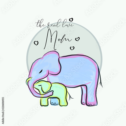 Garden Poster Fairytale World Hand drawn elephant for baby fashion