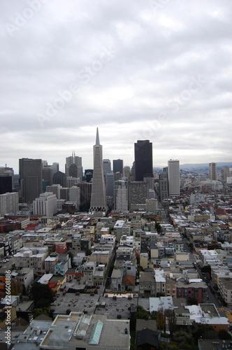 Spoed Foto op Canvas Stad gebouw San Fransisco Skyline viewed from Coit Tower, San Fransisco, California, USA