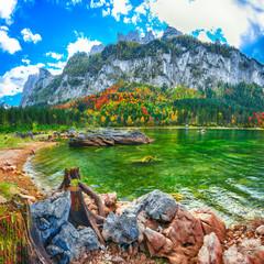 Fototapeta Góry Beautiful view of idyllic colorful autumn scenery in Gosausee lake Austria