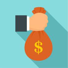 Corruption Money Bag Icon. Flat Illustration Of Corruption Money Bag Vector Icon For Web Design