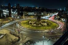 Plaça Espanya, Barcelona Light Trails