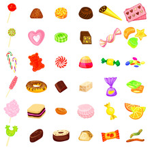 Candy Icon Set. Cartoon Set Of Candy Vector Icons Isolated On White Background
