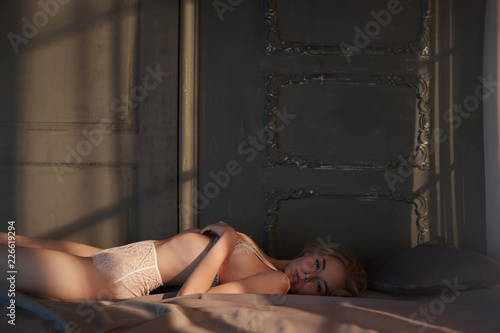 Canvas Prints womenART Erotic portrait of young beautiful woman in sexy lingerie