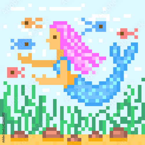Little mermaid with pink hair swimming with fishes