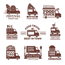 Food Truck Logo. Street Festival Van Fast Catering Outdoor Kitchen Vector Labels And Badges Monochrome Style. Illustration Of Festival Delivery Street, Restaurant Van Badge