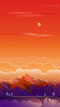 Sunset Summer Rocky Mountain Landscape Drawing, Travel, Voyage, Adventure In Nature Wallpaper, Landing Page Background, Beautiful Illustration