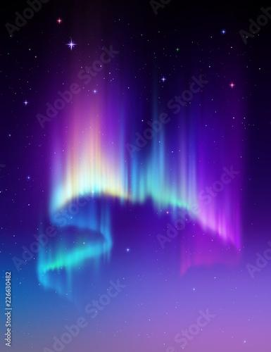 Abstrakcyjne tło Aurora Borealis, zorza polarna na nocnym niebie polarnym, zjawisko naturalne, cud kosmiczny, cud, neonowe linie świecące, widmo ultrafioletowe