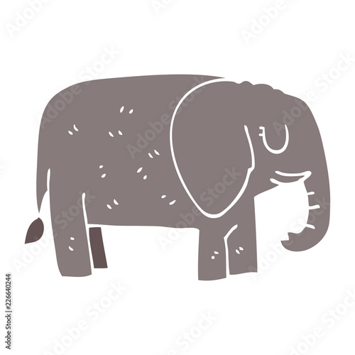 cartoon doodle elephant standing still Canvas Print