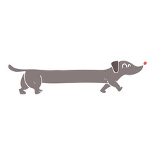Flat Color Illustration Of A Cartoon Dachshund