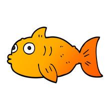 Cartoon Doodle Surprised Fish