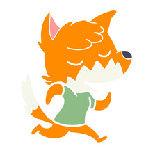 Friendly Flat Color Style Cartoon Fox Running