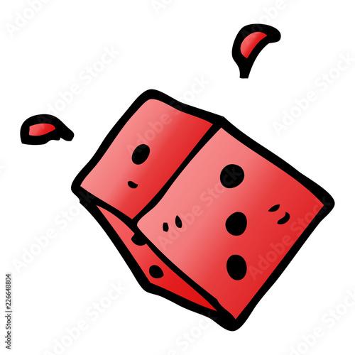 Photo  cartoon doodle rolling dice