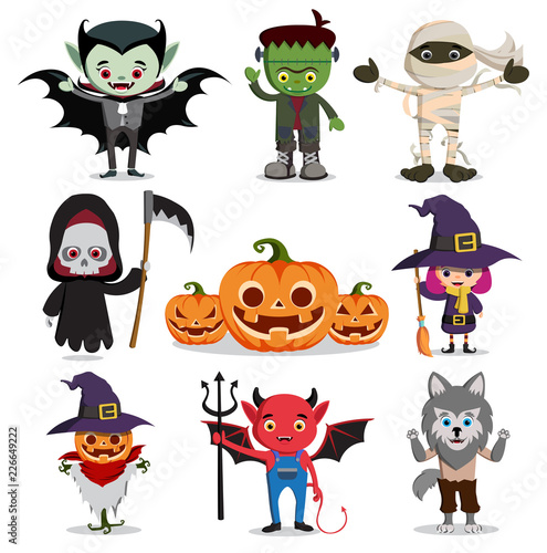 Tableau sur Toile halloween vector characters set