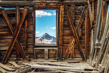 Window View From An Old Western Ghost Town In Colorado