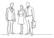Continuous Line Drawing Of Three Business Professionals Standing Confident