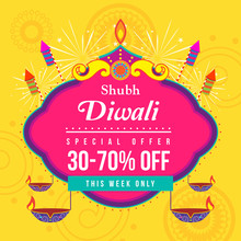Shubh Diwali (Happy Diwali) Sale Vector Illustration, Diwali Diya (oil Lamp) With Fireworks And Firecracker On Yellow Background.