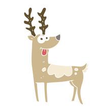 Flat Color Illustration Of A Cartoon Reindeer