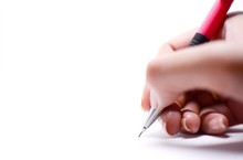 A Woman's Hand Is Writing Something With A Pink Pencil, Isolated On White Background.