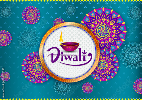 Happy Diwali light festival of India greeting background Fototapet