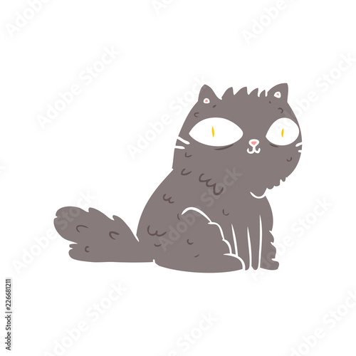 Wall Murals Cats flat color style cartoon cat looking right at you