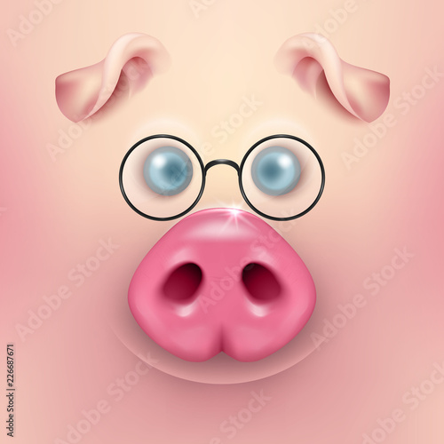 vector background with 3d funny cartoon pig face with glasses