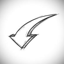 Arrow Doodle. Down Sign