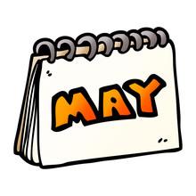 Cartoon Doodle Calendar Showin...