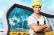 Construction satisfied activity adult artisan belt brick