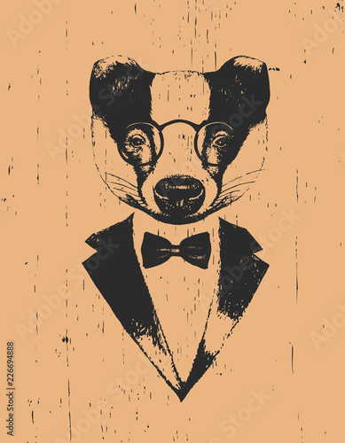 Valokuvatapetti Portrait of Badger in suit, hand-drawn illustration, vector