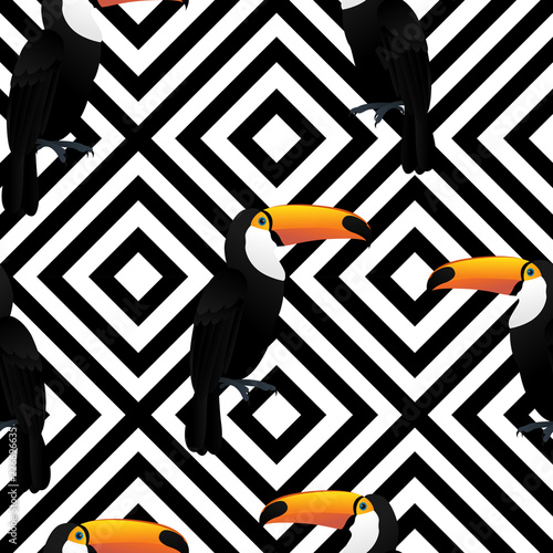 toucan-bird-pattern-seamless-on-black-and-white-geometric-background-for-fabric-prints-pillowcase-packaging-wrapping-website-background-wallpaper-and-textile-fabric-print-vector-illustration
