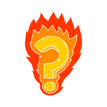 Flat Color Style Cartoon Flaming Question Mark