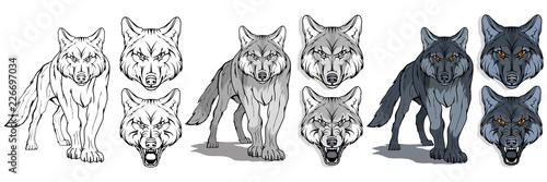 Naklejka premium wilk, izolowany na białym tle, kolorowa ilustracja, nadający się jako logo lub maskotka drużyny, niebezpieczny leśny drapieżnik, głowa wilka, dzikie zwierzę, wilk szary w pełnym wzroście, grafika wektorowa do zaprojektowania