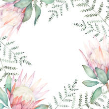 Watercolor Floral Frame For We...