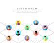Networking diverse people connected by dotted lines. Social and business network concept in colorful flat design on white background.