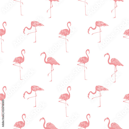Keuken foto achterwand Flamingo Vector summer background. Flamingo summer print, paper or textile design. Element of seamless pattern.