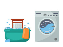 Laundry In The Past And Now. B...