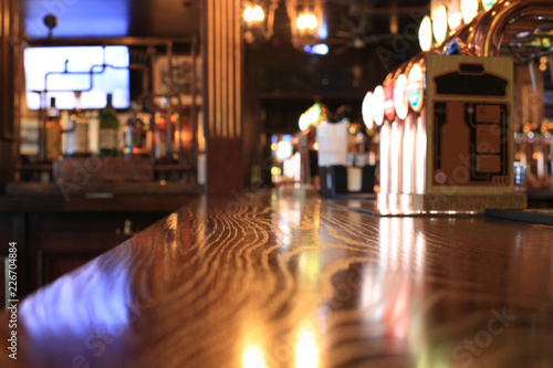 Classic bar with bar counter and beer taps
