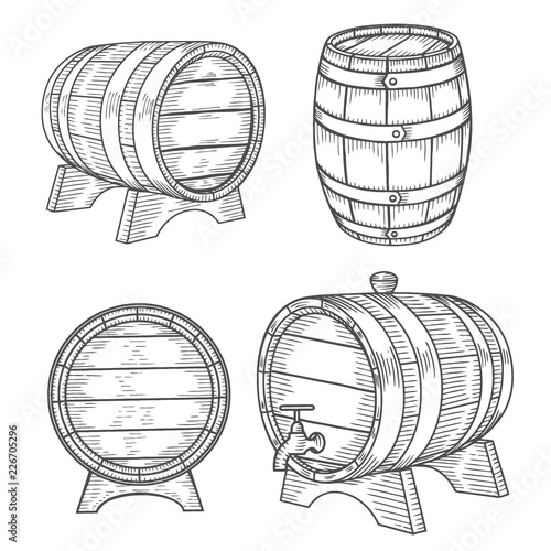 Wooden barrel set. Canvas Print