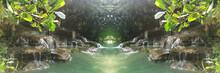 Super Of Waterfall On Green Na...
