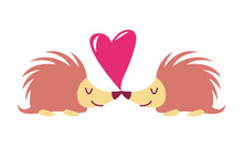 Porcupines In Love On Heart