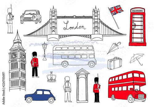 Poster Doodle Vector illustration. London landmarks. London city elements collection. Hand drawn set with bridge, Big Ben, red bus, cars, royal guards, cab, streetlight, suitcase and umbrella. UK flag.